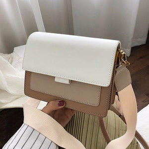 Contrast color Leather Crossbody Bags For Women 2020 Travel Handbag Fashion Simple Shoulder Messenger Bag Ladies Cross Body Bag - ladystreets