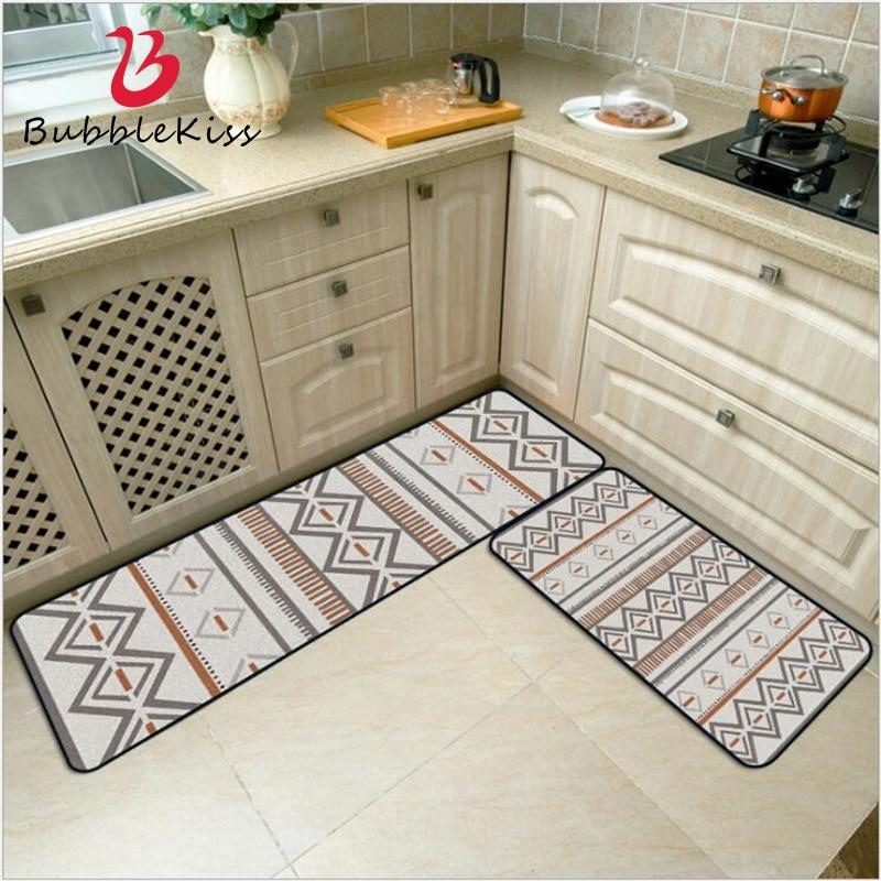 Bubble Kiss Fashion Ethnic Style Gray Orange Carpet Bohemian Geometric Kitchen Mat Entry Mat Floor Mat Bedroom Decor Area Rugs - ladystreets