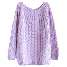 Load image into Gallery viewer, Sfit Twist Pattern Sweaters Women Autumn Winter Fashion Basic Pullover Female Jumpers Long Sleeve Pull Femme Casual Knitted