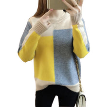 Load image into Gallery viewer, Autumn Winter Korean style Contrast Color Sweater Women Long Sleeve Jumper Sweater And Pullover Knitted Sweater pull femme