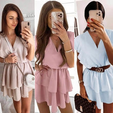 Load image into Gallery viewer, Elegant ruffled Tricolor women dress Summer V-Neck Casual chiffon mini dresses sweet ladies overalls