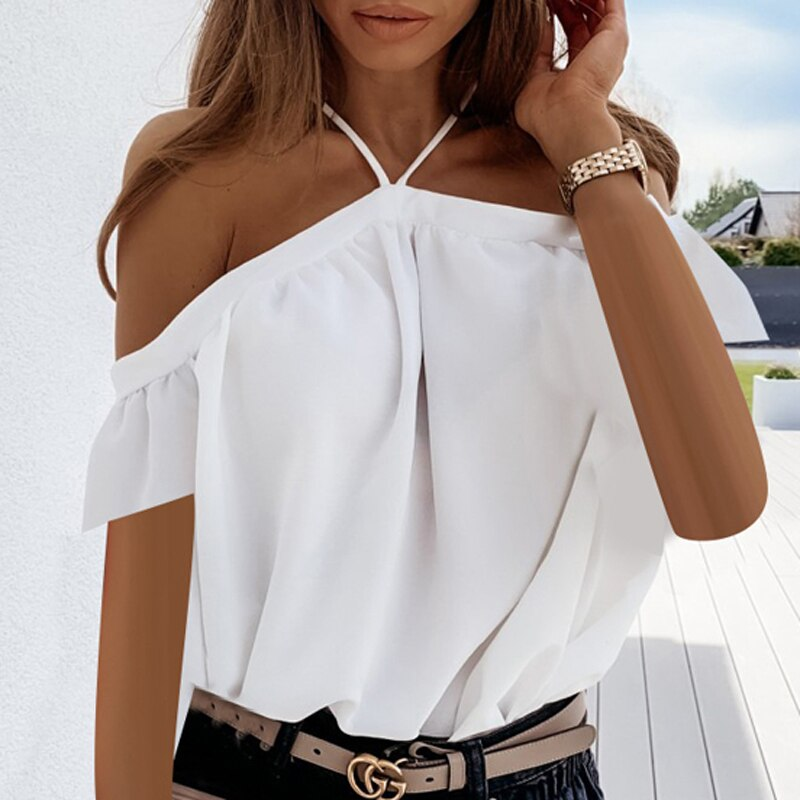 Sexy Backless Halter Blouse Shirt Summer Off Shoulder Solid Tops Blusa Elegant Women Short Sleeve Blouses Shirts Streetwear 3XL