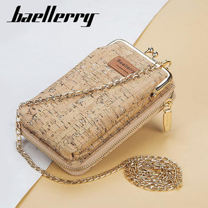 New Fashion Women Wallets Wood Grain Chain Long Top Quality Card Holder Classic Female Purse Zipper Brand Wallet For Women - ladystreets