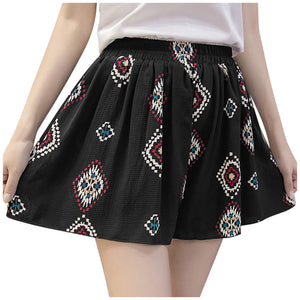leaves print casual shorts women Summer loose sport shorts Lady Large Size Chiffon Short soft comfortable wear spodenki P3 - ladystreets