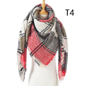 Women Cashmere Scarf Knit Winter Pashmina Lady Luxury Plaid Neck Scarves Warm Shawl Thick Triangle Blanket Echarpe Bandana - ladystreets