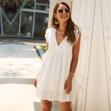 Load image into Gallery viewer, Solid Hollow Out Short Dress Women New Sexy V Neck Butterfly Sleeve Hollow Lace Dress Casual Loose Summer Women Dress