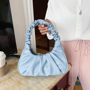 Folds Design Small PU Leather Shoulder Bags For Women 2020 Elegant Handbags Female Travel Totes Lady Fashion Hand Bag - ladystreets