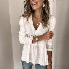 Load image into Gallery viewer, Women Sexy Chiffon Sheer Blouse Shirts Slim Tops Ladies Long Sleeve Ruffle Deep V Neck Solid Casual Summer Costume Fashion New