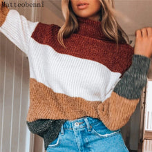 Load image into Gallery viewer, Winter Womens Patchwork striped Knitted Turtleneck Sweater 2020 Autumn Casual Loose Sweaters Pullover Women Long Sleeve jumper