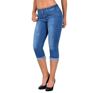 Plus Size Fashion Summer Women High Waist Skinny Jeans Knee Length Hole Ripped Denim Capri Slim Streetwear Stretch Casual Pants - ladystreets