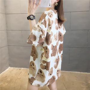 Summer Harajuku Women T-shirt Half Sleeves Cartoon Bear Loose Tops Tide High Street Cotton Tshirt Large Size Tees NS4523