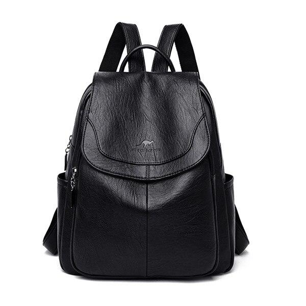 Leather Backpack Women 2020 Fahsion Backpack Female School Bags for Teenage Girls Soft PU Leather Solid Women Backpack - ladystreets