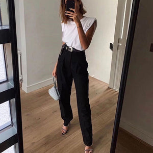 2020 Simple Design Shoulder Pad Women Tops T-shirts Cotton Solid Comfort Summer Women's Clothing White Black Short O-Neck Casual