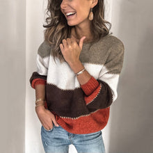 Load image into Gallery viewer, Striped Patchwork Casual Sweaters Women Clothing Autumn Winter Streetwear Loose Knitted Pullovers Female Tops New Arrived 2020