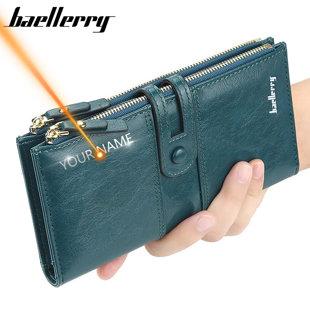 Name Engrave Women Wallets Fashion Long Leather Top Quality Card Holder Classic Female Purse Zipper Brand Wallet For Women - ladystreets