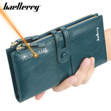 Load image into Gallery viewer, Name Engrave Women Wallets Fashion Long Leather Top Quality Card Holder Classic Female Purse Zipper Brand Wallet For Women - ladystreets
