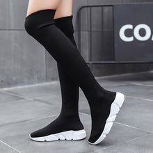 Load image into Gallery viewer, Autumn Boots Women Sock Shoes Stretch Fabric Shoes Slip-On Over the Knee Boots Women's Pumps Boots for Women 2020 botas de mujer - ladystreets