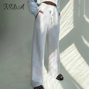 FSDA 2020 Gray High Waist Pants Streetwear Harajuku Harajuku Women Wide Leg Trousers Black Korean Streetwear - ladystreets