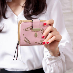 Women Wallet Fashion Purse Female Short Wallets Hollow Leave Pouch Handbag For Women Coin PU Leather Purses Card Holder Carteira - ladystreets