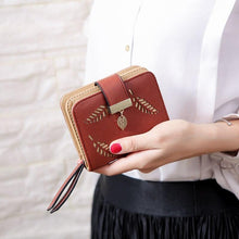 Load image into Gallery viewer, Women Wallet Fashion Purse Female Short Wallets Hollow Leave Pouch Handbag For Women Coin PU Leather Purses Card Holder Carteira - ladystreets