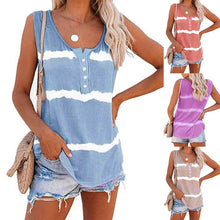 Load image into Gallery viewer, Women 2020 Summer Sleeveless Tie-dye Cotton T Shirts Ladies Button Vest blue Striped T-shirts Casual Fashion O-Neck Purple Tops