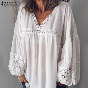 Elegant V Neck Puff Sleeve Lace Blouse Women Summer White Shirts Plus Size Patchwork Tunic Tops Blusas Mujer Chemise