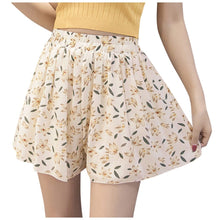 Load image into Gallery viewer, leaves print casual shorts women Summer loose sport shorts Lady Large Size Chiffon Short soft comfortable wear spodenki P3 - ladystreets
