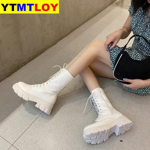 Sping Women White Boots Autumn Fashion Black Leather Platform Gothic Boots Punk Combat Boots for Women - ladystreets