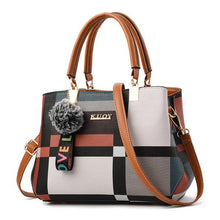 Load image into Gallery viewer, Valenkuci New Casual Plaid Shoulder Bag Fashion Stitching Wild Messenger Brand Female Totes Crossbody Bags Women Leather Handbag - ladystreets
