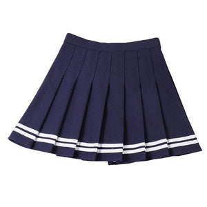 Sailor Striped Stitching Women Skirt Summer A-Line Pleat Skirts Sweet Girls Mini Skirt Harajuku Fashion High Waist Ladies Skirts - ladystreets
