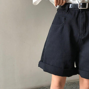 Spring And Summer New Women's Casual Loose Denim Shorts Fashion High Waist Wide Leg Shorts Female Bottoms B01409O - ladystreets