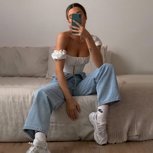 Load image into Gallery viewer, Cryptographic Off Shoulder Fashion Lace Up Shirts Blouse Blouse Women White Crop Tops Blouses Clothes Vintage Tie Front Tops