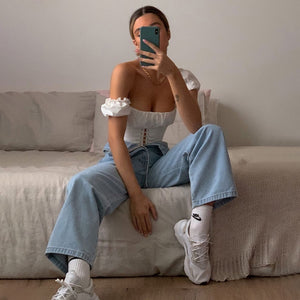 Cryptographic Off Shoulder Fashion Lace Up Shirts Blouse Blouse Women White Crop Tops Blouses Clothes Vintage Tie Front Tops