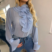 Load image into Gallery viewer, Spring Polka Dot Ruffle Blouse Shirt Elegant Fashion O Neck Buttons Streetwear Tops Lady Autumn Long Sleeve Pullover Women