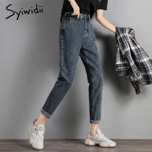 plus size Mom jeans women high waist boyfriend jeans for women Harem Pants denim street style Coated Ankle-Length High Street - ladystreets
