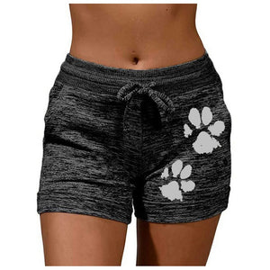 30H Fashion Shorts Women Quick-drying Casual Sports Shorts Footprint Print Elastic Fitness Home Short Pants Dropshipping - ladystreets