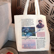 Load image into Gallery viewer, Women Canvas Bag Van Gogh Monet Artist Zipper Tote Ladies Environmental Shoulder Bags Handbag Eco Books Shopping Bags For Girls - ladystreets