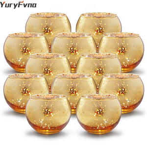 YuryFvna 6/12 Pcs Mercury Glass Candle Holders Votive Tealight Candlestick Wedding Centerpieces Parties Home Decoration Gift - ladystreets