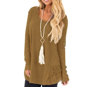 Casual Top Autumn Sweater Women Loose Solid Color Lace Round Neck Long Sleeve Sweaters Jersey Mujer Knitted Top Sweater кардиган