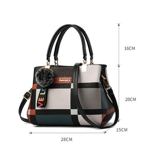 Valenkuci New Casual Plaid Shoulder Bag Fashion Stitching Wild Messenger Brand Female Totes Crossbody Bags Women Leather Handbag - ladystreets