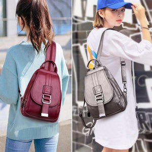 Backpack Women 2020 New Fashion Solid Women Backpack School Bags for Teenage Girls Soft PU Leather Backpack Female - ladystreets