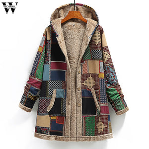 Womail Vintage Coats For Women Mom Winter Warm Coats Single Breasted Hooded With Pocket Print Parkas Plus Size 2019 Femme Coats