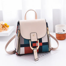 Load image into Gallery viewer, Korea Style Brand 2020 White BLACK Plaid Backpacks For School Teenagers Girls PU Leather Bags Fashion Women Travel Back Pack - ladystreets