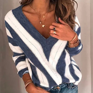 Women's striped sweater V-neck knitted jumper women sweater knitted sweater women sweaters and pullovers striped streetwear