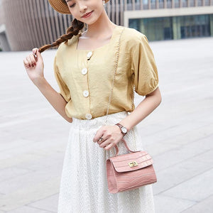 PU Fashion Women Bags 2020 Summer New Crocodile Pattern Handbag Shoulder Messenger Chain Lock Small Square Bag Wholesale - ladystreets