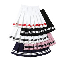 Load image into Gallery viewer, Sailor Striped Stitching Women Skirt Summer A-Line Pleat Skirts Sweet Girls Mini Skirt Harajuku Fashion High Waist Ladies Skirts - ladystreets