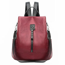 Load image into Gallery viewer, Anti Theft Backpack Women Large Capacity School Bags For Teenage Girls Women's Backpack Leather Bags For Women Backpacks - ladystreets
