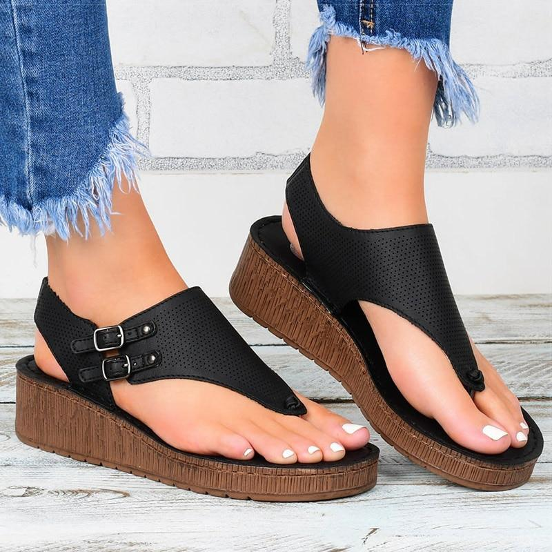 Women Sandals 2020 Platform Sandals With Wedges Shoes For Women Summer Sandals Chaussure Femme Flip Flops Wedge Heels Sandalias - ladystreets