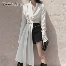Load image into Gallery viewer, TWOTWINSTYLE White Asymmetrical Jacket For Women V Neck Long Sleeve High Waist With Sashes Coats Female Fashion Clothes 2020 New