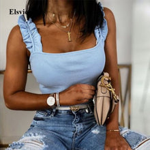 Load image into Gallery viewer, Summer Elegant Ruffle Strap Shirt Blouse Sexy Sleeveless Backless Ribbed Shirts Casual Women Square Collar Slim Knit Tops Blusa